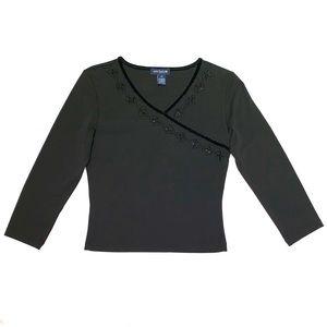 ANN TAYLOR NWOT Beaded 3/4 Sleeve Top